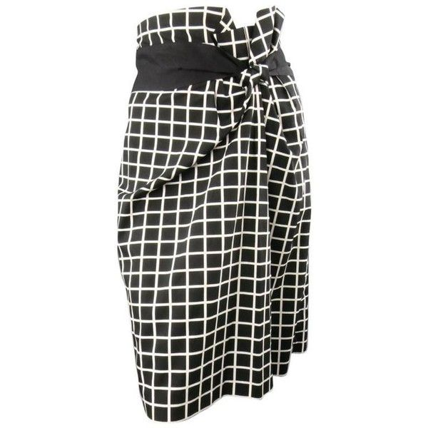 Preowned Dries Van Noten Size 6 Black & White Windowpane Asymmetrical... ($211) ❤ liked on Polyvore featuring skirts, white, white knee length pencil skirt, white pencil skirts, zip pencil skirt, zipper pencil skirt and white skirt