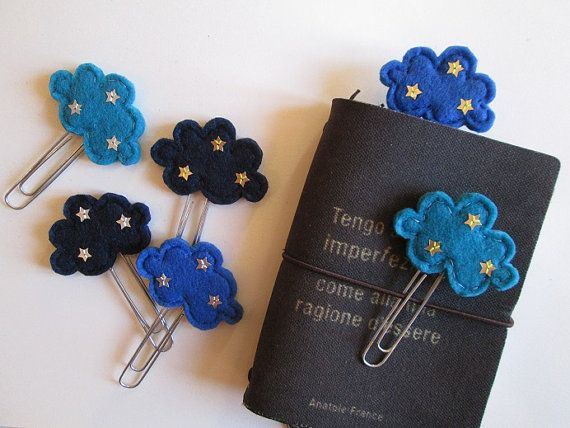 Planner clips - 3 paper clips - Starry Cloud - Starry night  - Felt bookmarks - Handmade Set di 3 clip  3 graffette con Nuvole in feltro  di TinyFeltHeart
