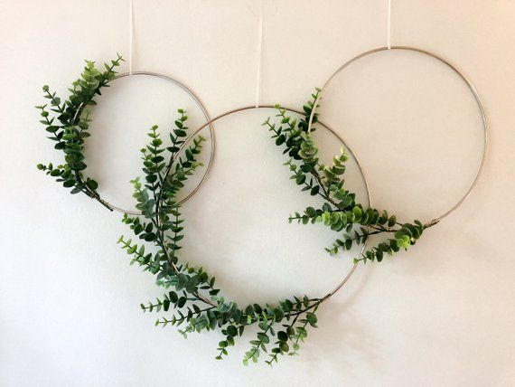 Metal Hoop Wreath Simplistic Shabby Chic Green Eucalyptus Wreath Succulent Gold or Brass Simple Wedding Baby Nursery Rustic