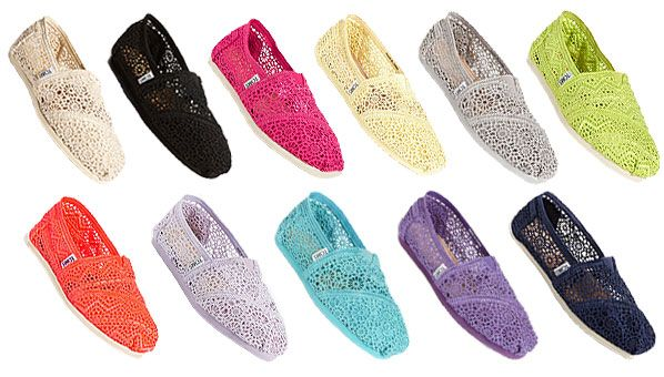 TOMS Crochet Shoes now available in many different colors.