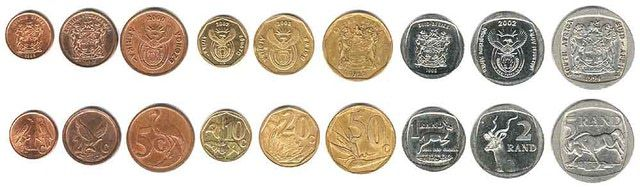 This is an image showing the coins which are currently used as money in South Africa. This South African coinage is part of the monetary system used in S. Africa.