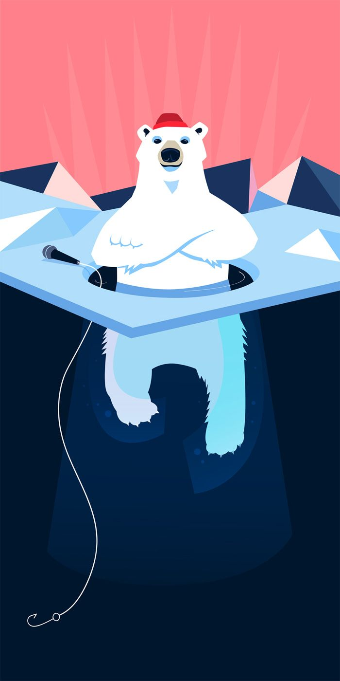 Polar bear poster image for coolest pitching event ever.