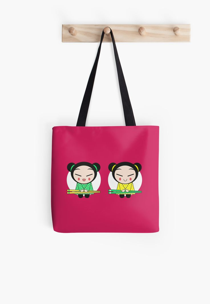 Funny Japanese Girls on pink, red background. Girls with chop sticks in hand • Also buy this artwork on bags, apparel, stickers, and more.