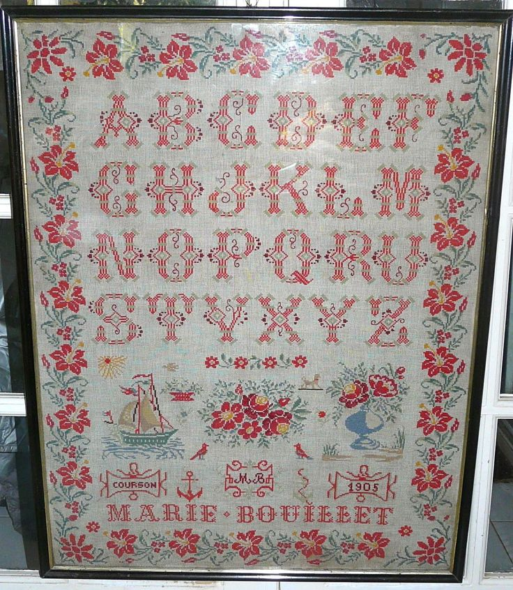 A Beautiful Early 20th Century FRENCH Sampler Stitched By Marie Bpouilett & Dated 1905