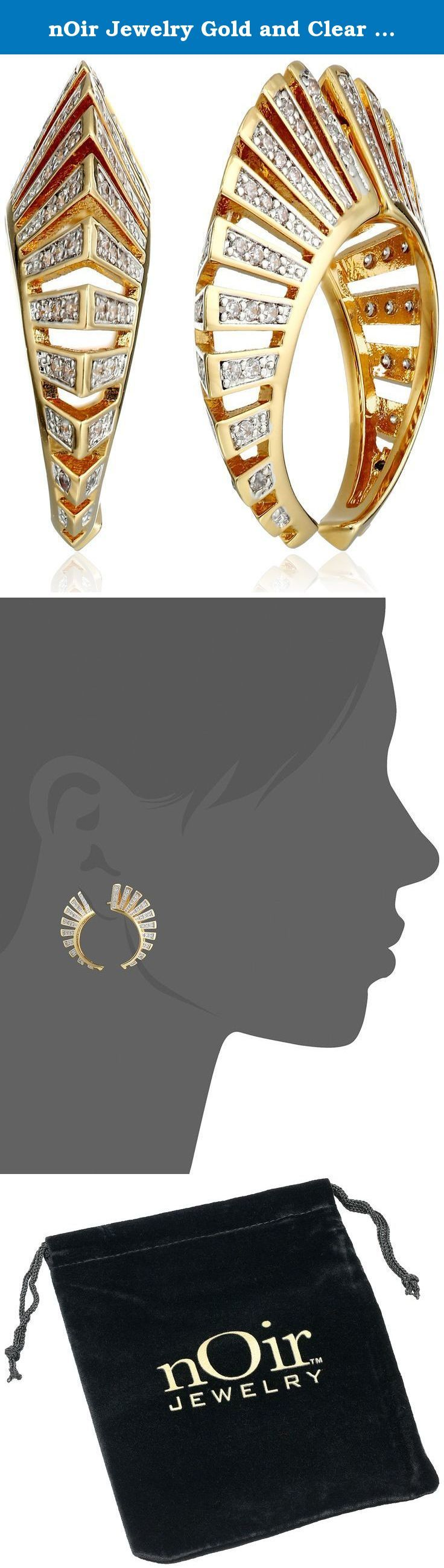 nOir Jewelry Gold and Clear Modernist Earrings. Two-piece earrings featuring openwork design and pave-set black cubic zirconia. Friction-back findings.
