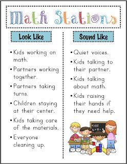 Mrs. Ricca's Kindergarten: Math Stations Poster {Freebie}