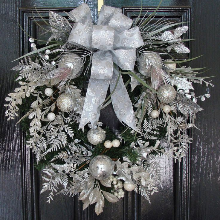 Christmas Holiday Wreath with Silver and Frosted Ornaments, Foliage and Bow #Handmade