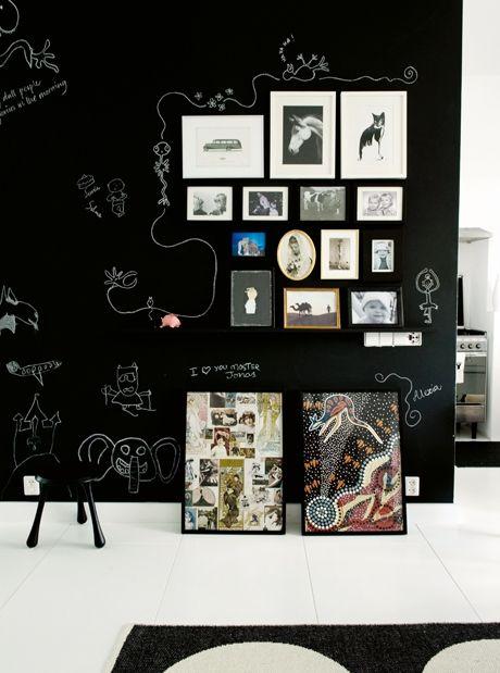 Blackboard gallery wall.: Wall Art, Blackboard Wall, Photo Display, Blackboard Art, Chalkboards Paintings, Chalk Wall, Galleries Wall, Chalkboards Wall, Black Wall