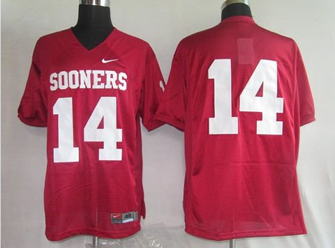 Men's NCAA Oklahoma Sooners #14 Red Jersey