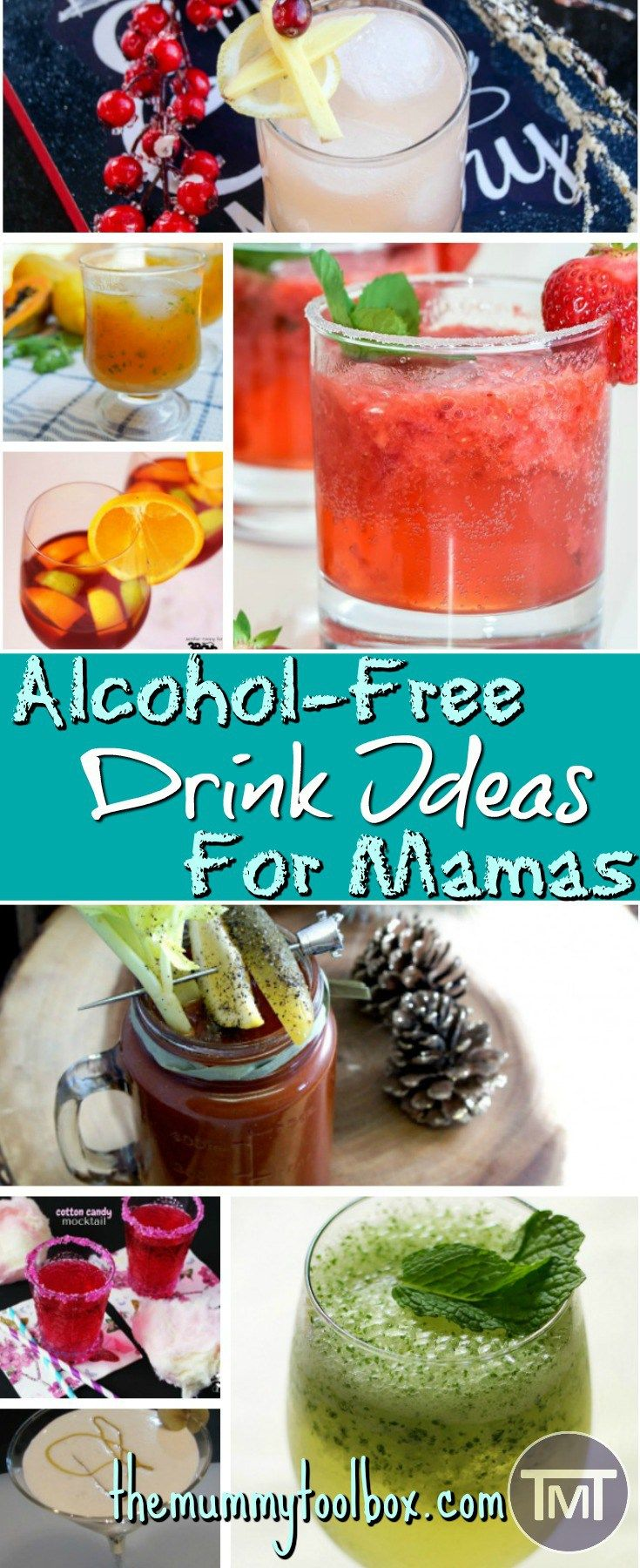 Ah pregnancy, the time of growth and relaxation, but not booze. In case you are feeling a little left out, here are some alcohol-free drinks for the mamas. #alcoholfree #drinks #drinkideas #mocktails #pregnancy