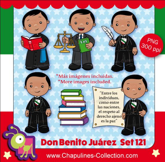60% off Benito Juárez Clipart Mexico by ChapulinesCollection