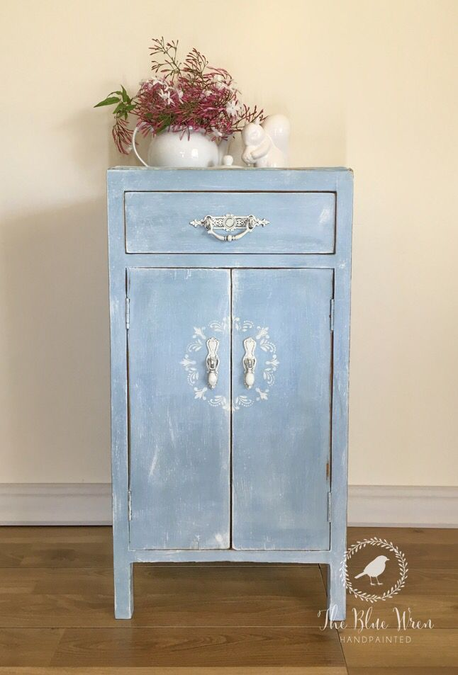 1920's Occasional Cupboard, End, bedside, lamp table. Original ornate hardware. Painted in Annie Sloan Chalkpaint. Duck Egg, Louis Blue, Old White, Napoleonic Blue and Clear Wax. Stencilled. Such a sweetheart !