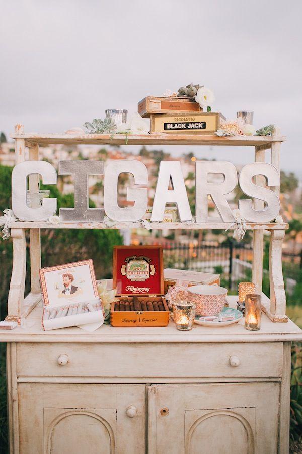 Cigar Bar  #deplanv #cigar #bar #installation #cigar #station #matches #details #vintage #wedding #favours  http://www.deplanv.com