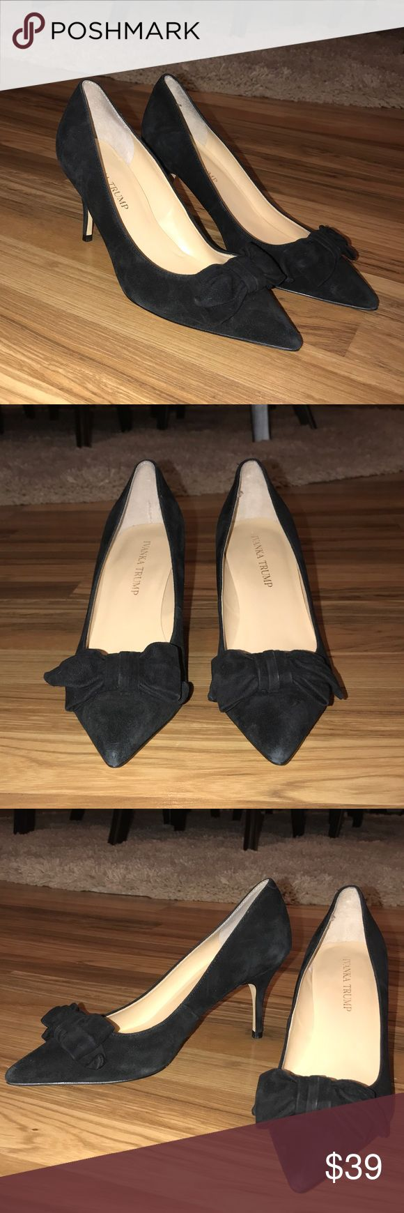 Ivanka Trump Black Suede Bow Heels Ivanka Trump. Suede. Black. Now detailing on toe. In excellent condition!! Perfect for the office 🖤 Ivanka Trump Shoes Heels