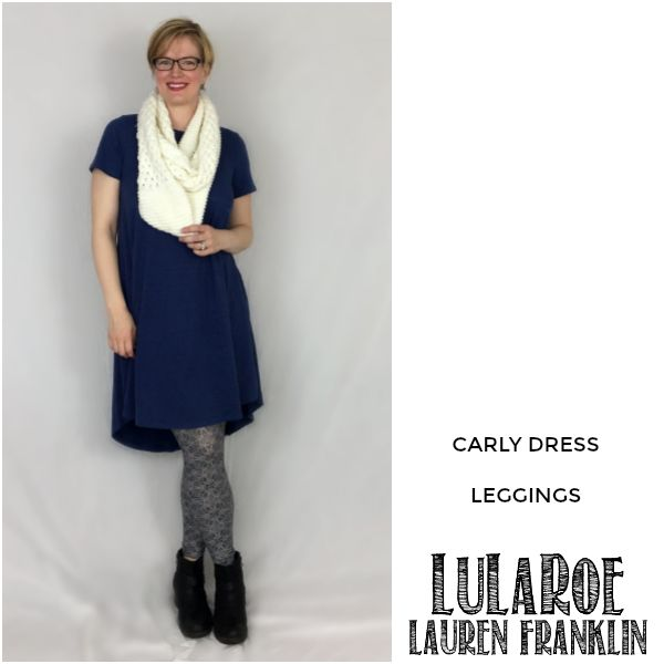 LuLaRoe Lauren Franklin featuring Kim Bongiorno in the LuLaRoe Carly dress and Leggings - plus 14 other outfits! | WAHM style