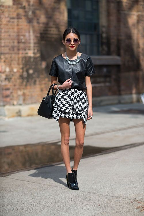 Leather Top and Houndstooth Mini - Australia Fashion Week Style Spring 2013