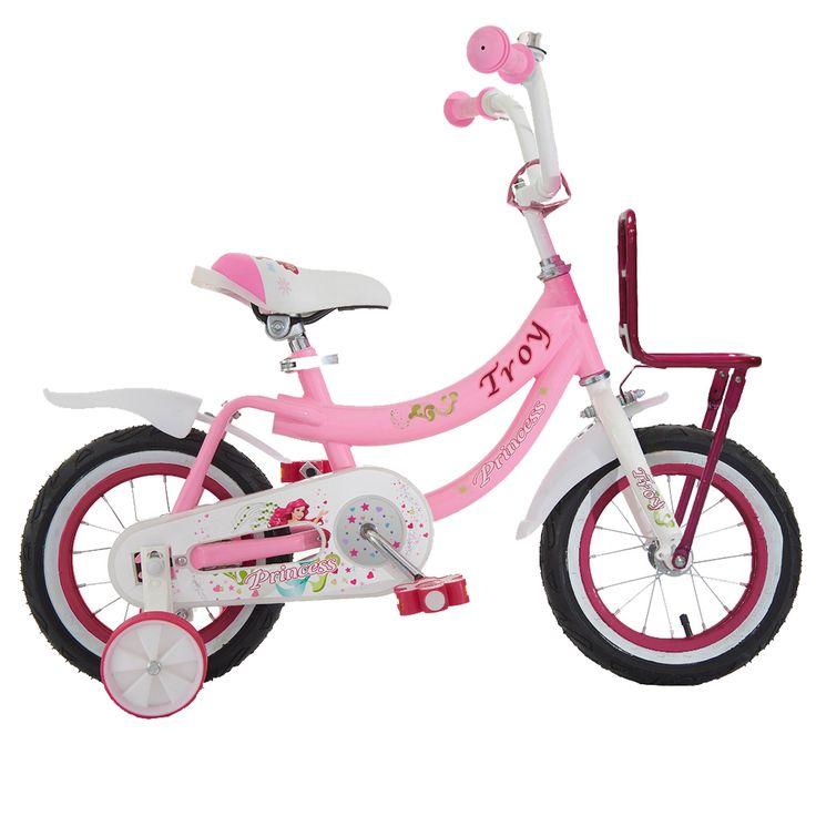 """Troy Kinderfiets Princess roze 12"""" Roze  Description: Deze mooie roze/witte Troy Princess 12 inch kinderfiets is geschikt voor kinderen van 2 tot 4 jaar. Deze Princess fiets is werkelijk een topper. De fiets is gedecoreerd met de alom bekende Princess figuren en het stevige stalen frame zorgt dat de fiets stevig is en tegen een stootje kan. De terugtraprem in het achterwiel zorgen ervoor dat je kind veilig kan remmen en tot stilstand kan komen. De zijwieltjes zorgen voor ondersteuning en kan…"""