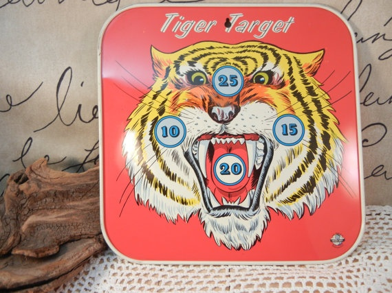 Wouldn't this look fun on your wall!!  Vintage Tiger Target Metal Ohio Art by DandelionLaneVintage, $18.00