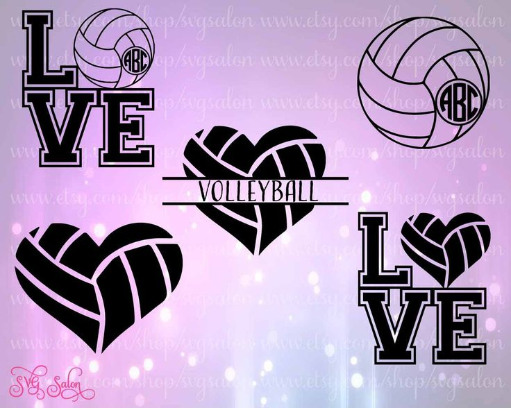 Love Volleyball Monogram Base Cutting File Set In Svg Eps