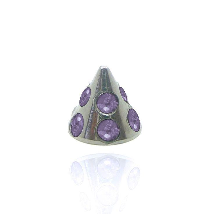 Pic pour piercing en acier orné de brillants colorés à visser sur barre, anneau, fer à cheval, spirale..