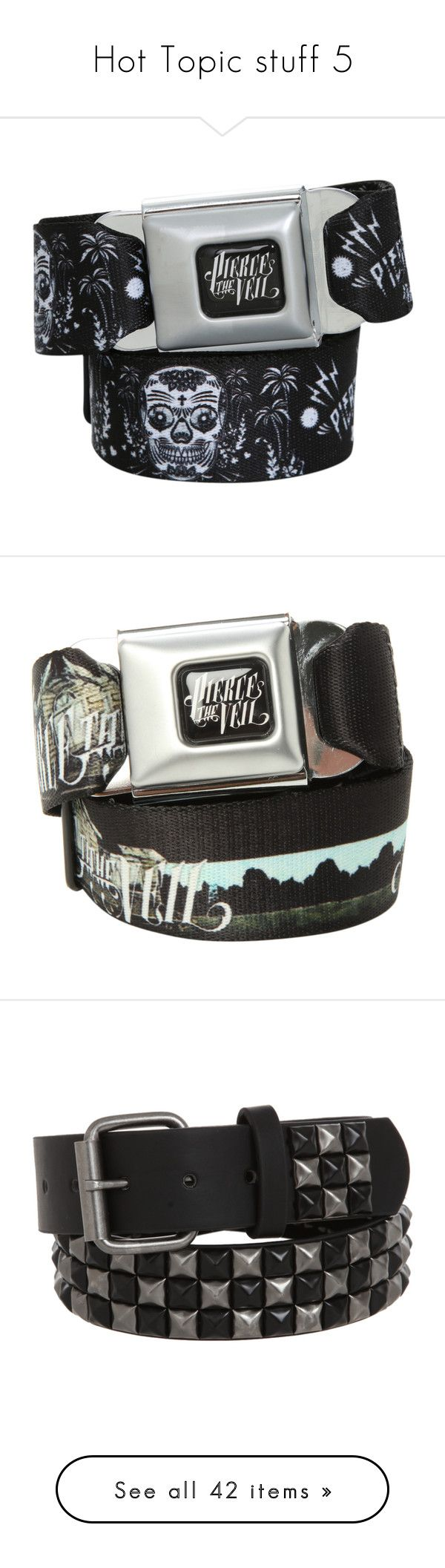 """""""Hot Topic stuff 5"""" by thelyricsmatter ❤ liked on Polyvore featuring belts, accessories, pierce the veil, jewelry, band merch, cinto, buckle belt, hot topic, black and silver belt and pyramid stud belt"""