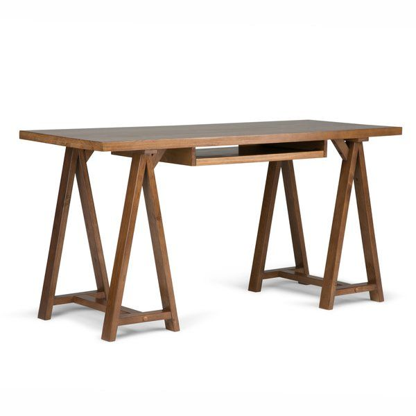 At 60 Inches Wide And 24 Inches Deep The Sawhorse Desk Is A Great Solution Both In The Home And At With Images Wood Office Desk Solid Wood Office Desk Wood Computer Desk