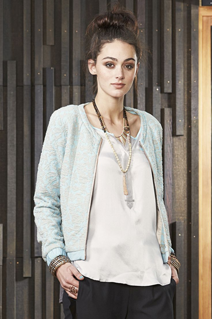 Ventura Bomber - jacquard fabric in a pastel blue colour.  LOVELY