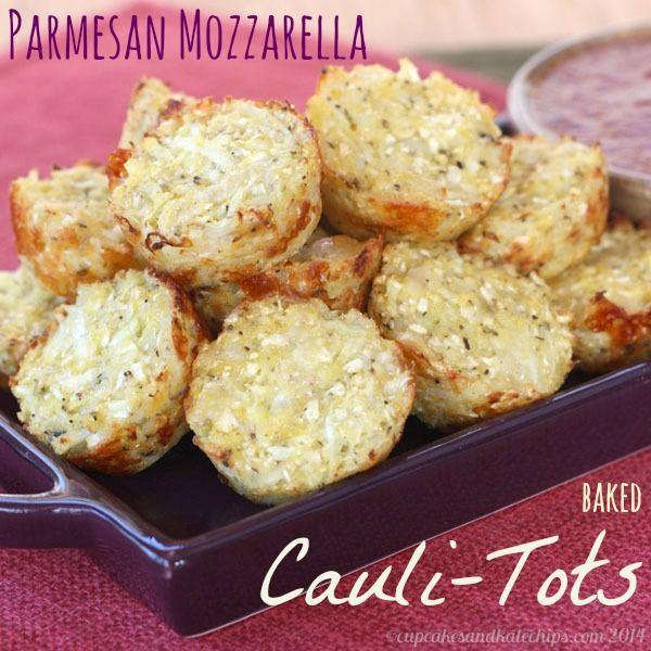 Parmesan Mozzarella Baked Cauli-Tots (aka Pizza-Tots) - Cupcakes & Kale Chips. Ingredients: cauliflower, mozzarella, grated parmesan, egg, cornmeal (or ground oats and breadcrumbs), s & p, Italian seasoning, onion powder, garlic powder