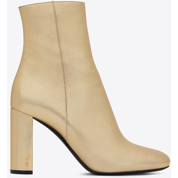 Saint Laurent LOULOU 95 Zipped Ankle Boot in Pale Gold (€930) ❤ liked on Polyvore featuring shoes, boots, ankle booties, gold boots, zip booties, gold ankle booties, zipper booties and gold ankle boots