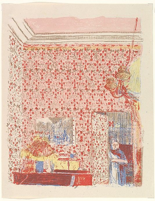 Interior with Pink Wallpaper I, from the series Paysages et Intérieurs Edouard Vuillard 1899