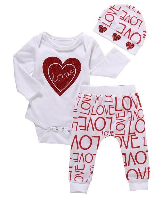 3pcs Newborn Baby Girl Clothes Autumn Long Sleeve Love Heart Cotton Baby Romper+Print Pants+Hat Christmas Baby Clothes Set - Best price in 10minus