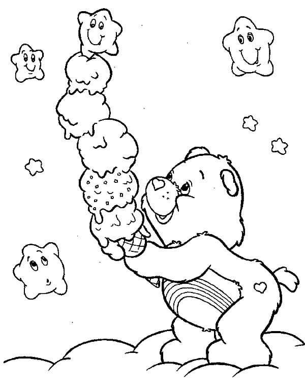Care Bears Stack Of Ice Cream Coloring Pages