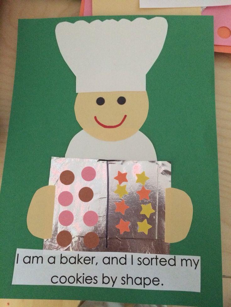 Baker sorting shape cookies activity