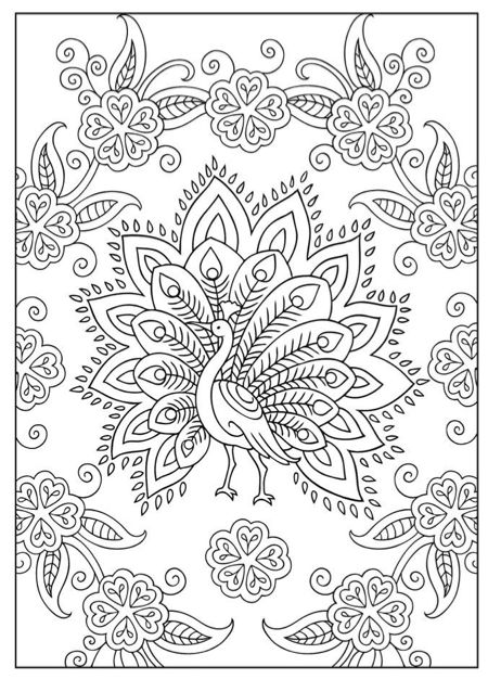 Moeilijke Kleurplaat Pauw Coloring Pinterest