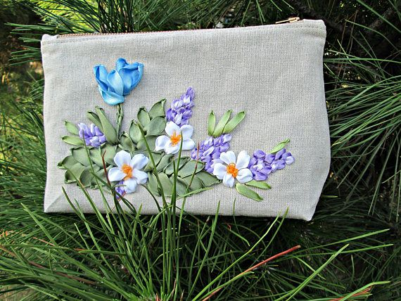 Linen cosmetics bag Cosmetics bag from fabric Handmade