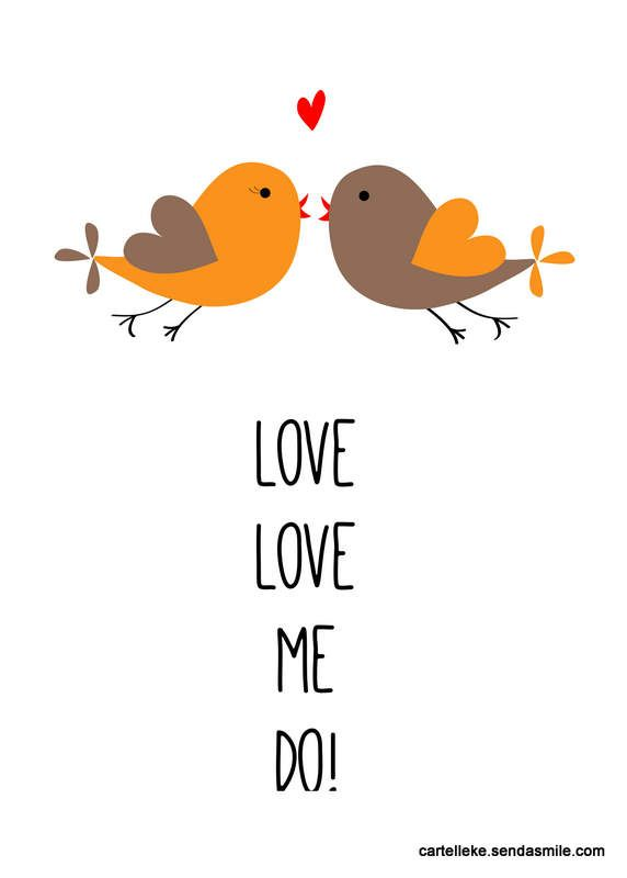 Love me do! Beatles quote | Design by Nelleke Wouters | Cartelleke.wordpress.com for daily inspiration and more | Birds | Love | Heart