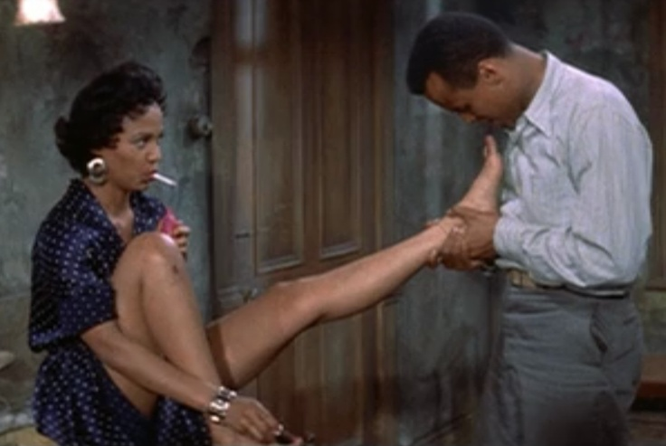 "Carmen Jones (1954). Dorothy Dandridge and Harry Belafonte. ""Blow on 'em for me honey..."""