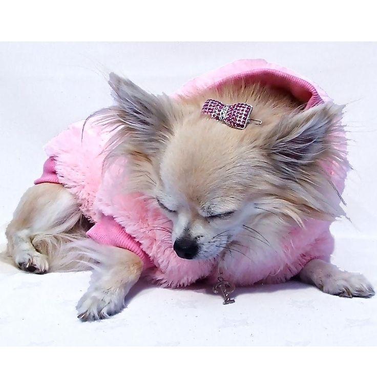 Luxury Faux Fur Dog Jacket in Pink £34.99 #dogcoat #fauxfur #pinkdogcoat