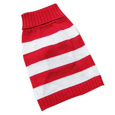 Patrón de rayas de cuello de descubierta Estilo Suéter para perros gatos (rojo, XS-M) - EUR € 8.09