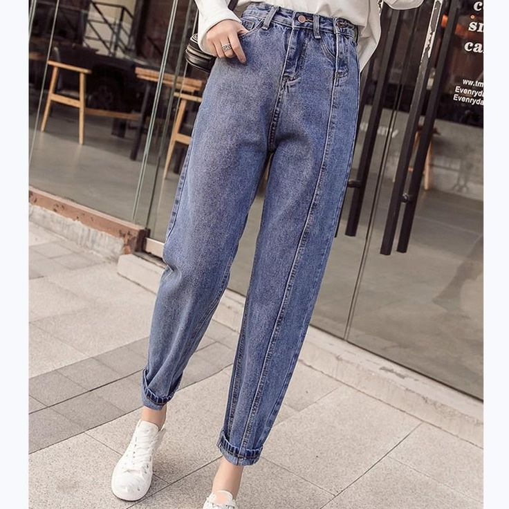 2019 autumn plus size high waist denim harem pants button