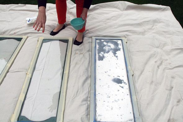 DIY:  How to Paint Glass to Look Like Aged Mirrors - using spray paint. This post has a lot of tips - via Little Green Notebook