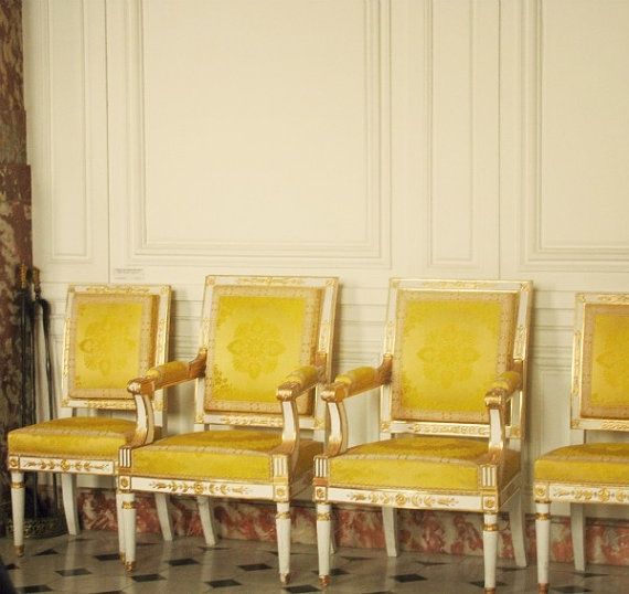 Chairs of VersaillesParis Photography, Mellow Yellow, Paris France, Autumn Gold, Yellow French, Photography 8X10, French Yellow, French Chairs, Yellow Chairs