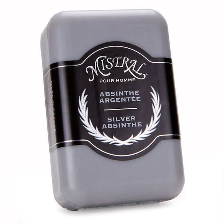 Silver Absinthe Bar Soap by MISTRAL SOAP - This intensely hypnotic fragrance is inspired by the belle epoque in Paris where absinthe flowed and creativity (and madness) ensued. It is an intoxicating cocktail of fresh bergamot, cool mint leaf and sandalwood mixed with classic fougere aromas of tonka bean, lavender, and oakmoss. With grape leaf extracts, which have anti-bacterial properites. Grapeseed oil helps condition your skin. This triple-milled soap is dense and long lasting.