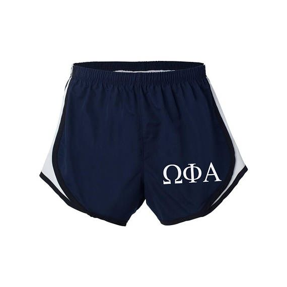 Omega Phi Alpha gym shorts. Great for the gym, running around campus or show off your A Chi O pride during spirit week! Available in Small thru 2XL in 8 great color combos: Black/Zebra, Black/Hot Pink, Red, Navy, Maroon, Hunter Green, Royal Blue and Black. Omega Phi Alpha velocity