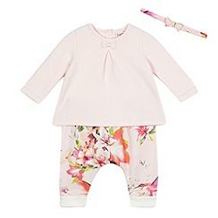 Baker by Ted Baker - Baby girls' pink floral print harem trousers, quilted top and headband set