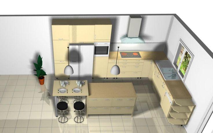 """Bonjour a tous,        Cela fait une eternite que je recherche une idee pour un ilot de cuisine qui fasse plan de travail, auquel je voudrais qu'il y ai une petite table pour quatre, accole a celui-ci. ...... (Forum """"Cuisine : aménagement et décoration"""" - 6 messages)"""