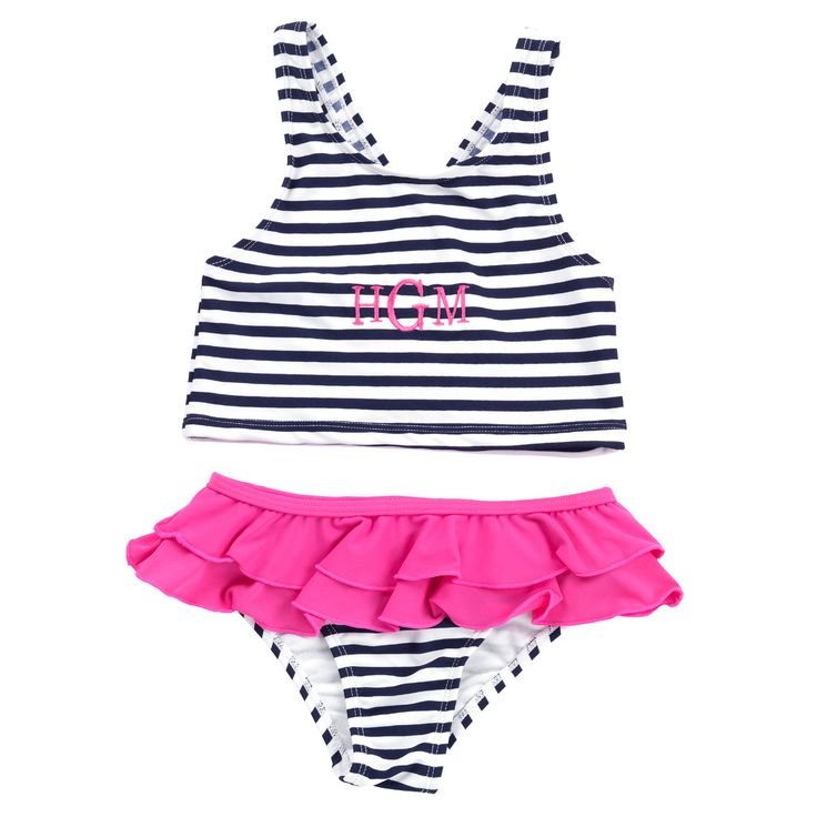 82% Nylon, 18% Spandex Polyester Liner Swim Top Straps Cross in Back Double Ruffles on Swim Bottoms Sold as a Set Size chart available in secondary photos Pleas