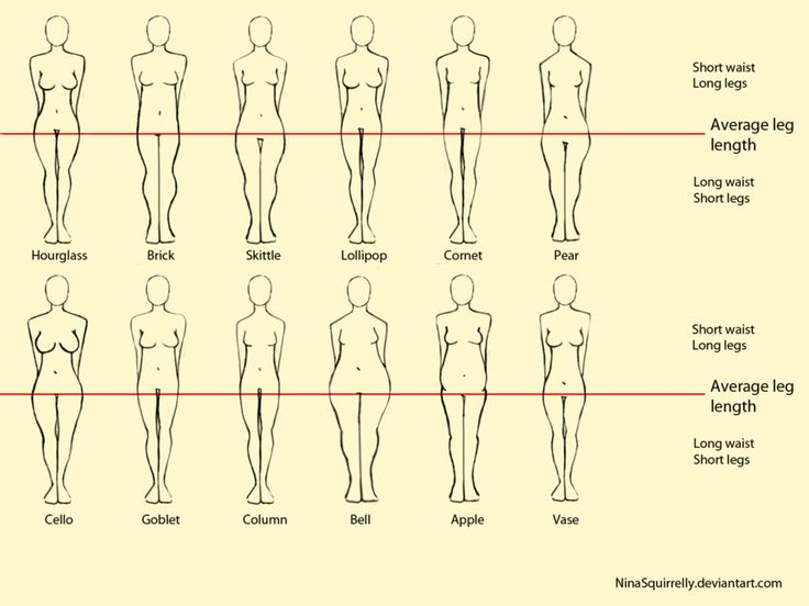 12 realistic woman body shape chart by ~NinaSquirrelly on deviantART  Cello--that's me!