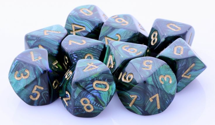 Need more dice? Scarab D10 Dice (Jade Green) will keep you rolling! Each set has 10 ten-sided dice for your next gaming adventure. The Scarab D10 is cast in an amazing blend of green. Each die is poli