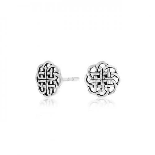 Bling Jewelry 925 Sterling Silver Round Celtic Shield Knot Stud Earrings 9mm